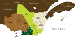 Map of the Quebec regions